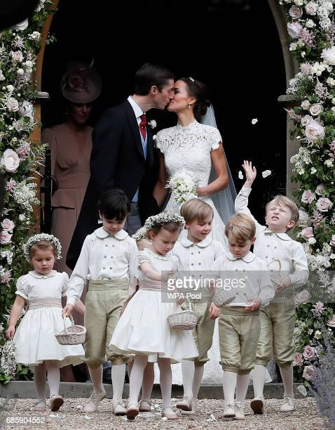 Pippa Middleton and James Matthews kiss after their wedding at St Mark's Church on May 20 2017 in Englefield EnglandMiddleton the sister of Catherine...
