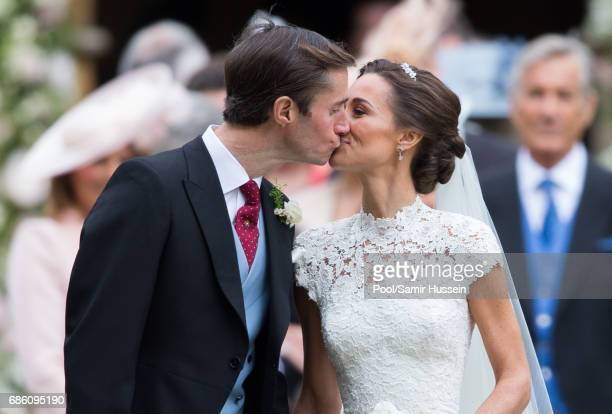 Pippa Middleton and James Matthews leave after getting married at St Mark's Church on May 20 2017 in Englefield Green England