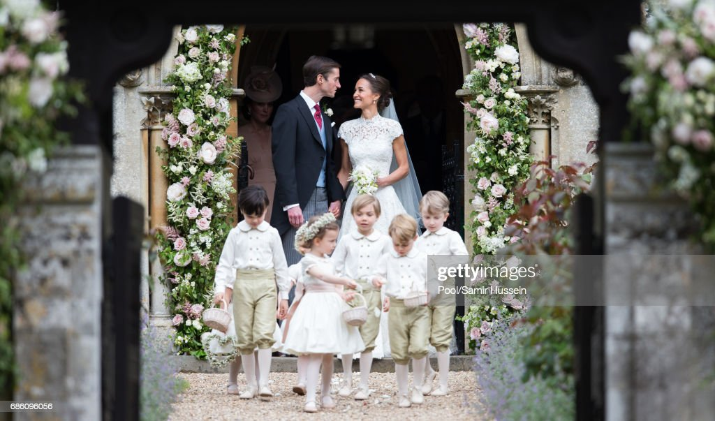 Pippa Middleton and James Matthews leave after getting married at St Mark's Church on May 20, 2017 in Englefield Green, England.