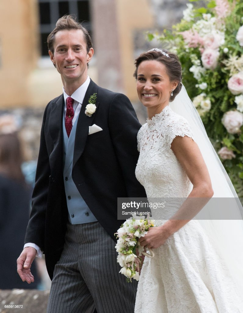 Pippa Middleton and James Matthews leave after getting married at the wedding Of Pippa Middleton and James Matthews at St Mark's Church on May 20, 2017 in Englefield Green, England.