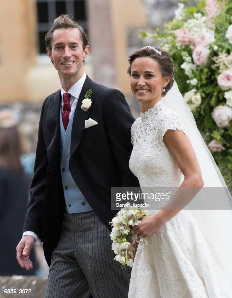 Pippa Middleton and James Matthews leave after getting married at the wedding Of Pippa Middleton and James Matthews at St Mark's Church on May 20...