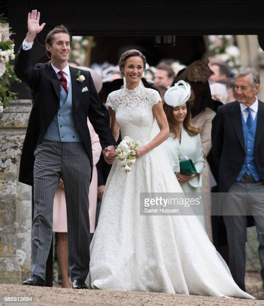 Pippa Middleton and James Matthews leave after getting married at the wedding Of Pippa Middleton and James Matthews at St Mark's Church on May 20,...