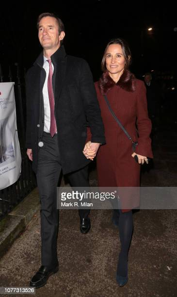 Pippa Middleton and James Matthews leaving St Lukes Church after a carol service on December 04 2018 in London England