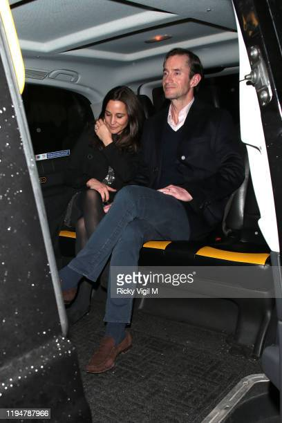 Pippa Middleton and James Matthews seen attending Princess Beatrice's engagement party at Chiltern Firehouse on December 18, 2019 in London, England.