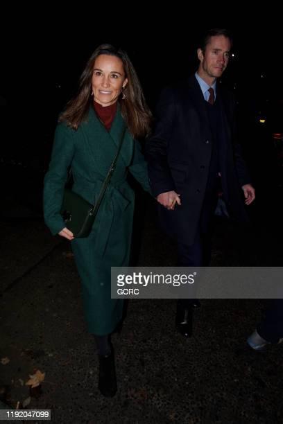 Pippa Middleton and James Matthews seen leaving St Luke's Church in Chelsea on December 04 2019 in London England