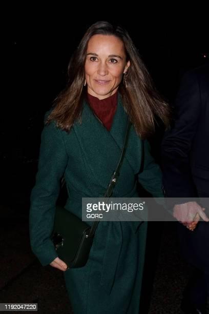 Pippa Middleton and James Matthews seen leaving St. Luke's Church in Chelsea on December 04, 2019 in London, England.