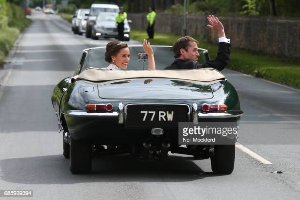 Pippa Middleton and James Matthews seen leaving St Mark's Church in a classic car after their Wedding Ceremony on May 20 2017 in Englefield England