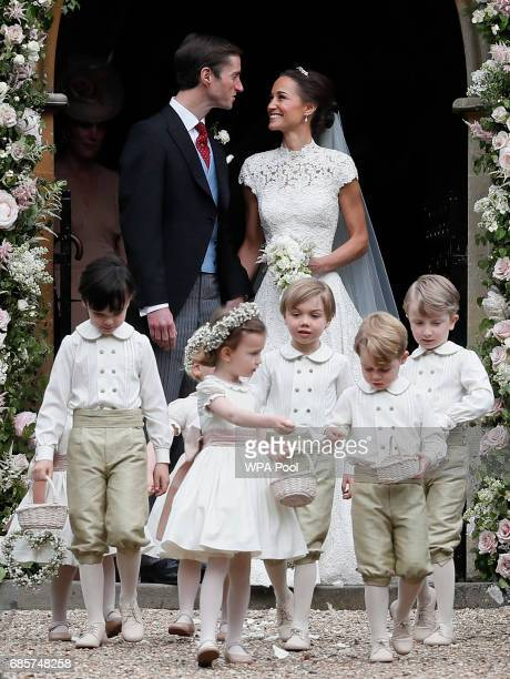 Pippa Middleton and James Matthews smile after their wedding at St Mark's Churchon May 20 2017 in Englefield England Middleton the sister of...