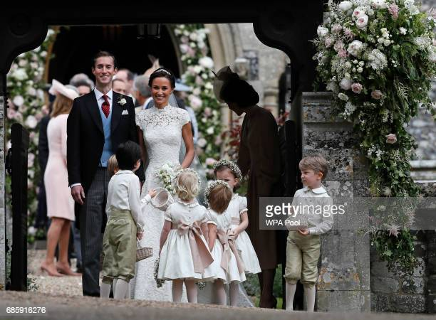 Pippa Middleton and James Matthews smile after their wedding at St Mark's Church on May 20 2017 in in Englefield England Middleton the sister of...