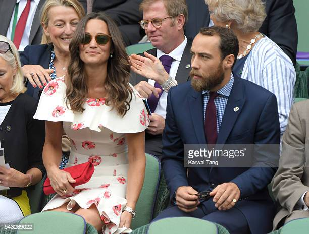 Pippa Middleton and James Middleton attend day one of the Wimbledon Tennis Championships at Wimbledon on June 27, 2016 in London, England.