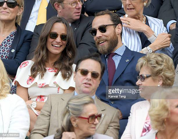 Pippa Middleton and James Middleton attend day one of the Wimbledon Tennis Championships at Wimbledon on June 27 2016 in London England