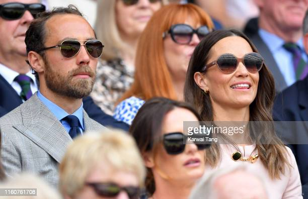 Pippa Middleton and James Middleton attend day seven of the Wimbledon Tennis Championships at All England Lawn Tennis and Croquet Club on July 08,...