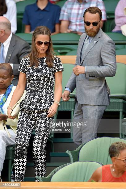 Pippa Middleton and James Middleton attend day ten of the Wimbledon Tennis Championships at Wimbledon on July 9, 2015 in London, England.