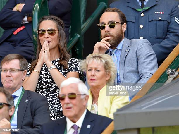 Pippa Middleton and James Middleton attend day ten of the Wimbledon Tennis Championships at Wimbledon on July 9 2015 in London England