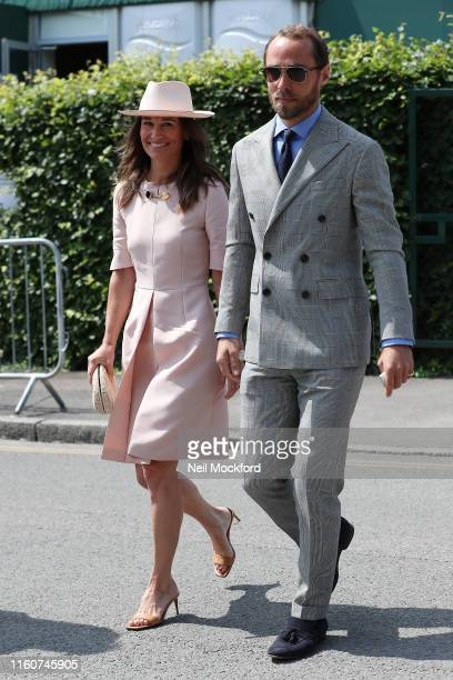 Pippa Middleton and James Middleton attends day 7 of the Wimbledon 2019 Tennis Championships at All England Lawn Tennis and Croquet Club on July 08...