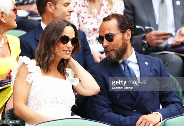 Pippa Middleton and James Middleton attends the Rafael Nadal of Spain against Mikhail Kukushkin of Kazakhstan in the Men's Singles second round match...