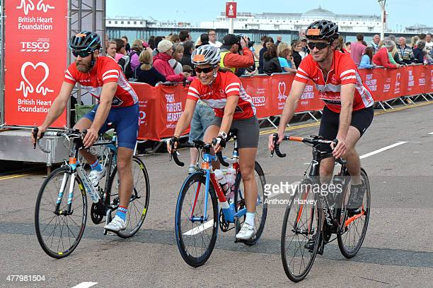 Pippa Middleton and James Middleton Finish the London To Brighton Bike Ride For British Heart Foundation on June 21, 2015 in Brighton, England.