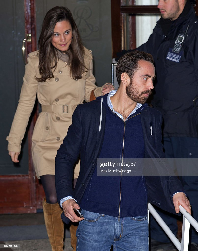 Pippa Middleton and James Middleton leave the King Edward VII Hospital after visiting their pregnant sister Catherine, Duchess of Cambridge who is being treated for acute morning sickness on December 05, 2012 in London, England.