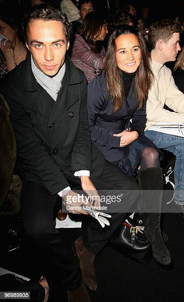 Pippa Middleton and James Middleton on the front row at the Issa London show for London Fashion Week Autumn/Winter 2010 at Somerset House on February...