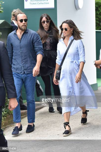 Pippa Middleton and James Middleton seen on day nine of The Championships at Wimbledon, London on July 11, 2018 in London, England.