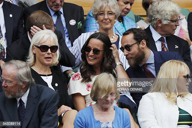 Pippa Middleton and James Middleton siblings of Catherine Duchess of Cambridge sit in the box at Centre Court to watch Serbia's Novak Djokovic play...