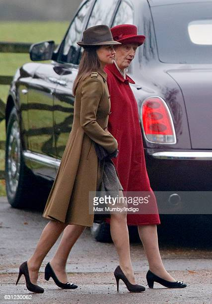 Pippa Middleton and Lady Susan Hussey attend the Sunday service at St Mary Magdalene Church Sandringham on January 8 2017 in King's Lynn England