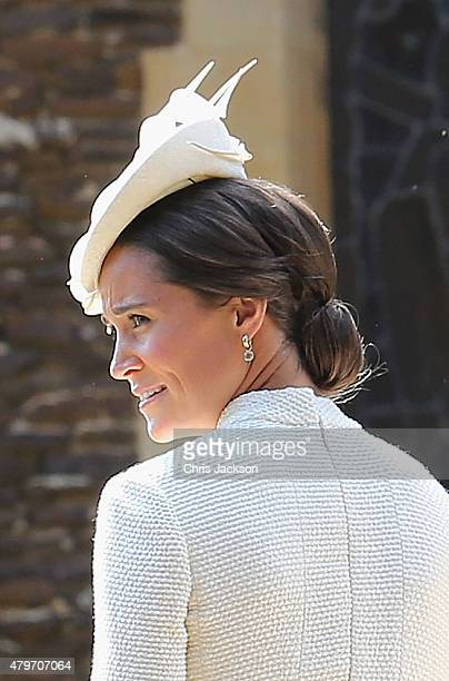 Pippa Middleton arrives at the Church of St Mary Magdalene on the Sandringham Estate for the Christening of Princess Charlotte of Cambridge on July 5...