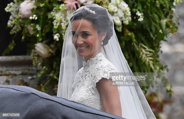 Pippa Middleton arrives for her wedding to James Matthews at St Mark's Church in Englefield west of London on May 20 2017 Pippa Middleton hit the...