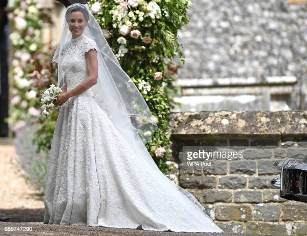 Pippa Middleton arrives for her wedding to James Matthews at St Mark's Church on May 20 2017 in Englefield Green England