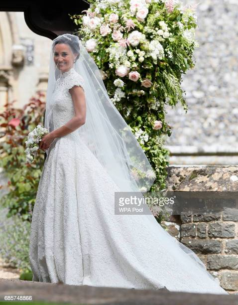 Pippa Middleton arrives for her wedding to James Matthews at St Mark's Churchon May 20 2017 in Englefield England Middleton the sister of Catherine...