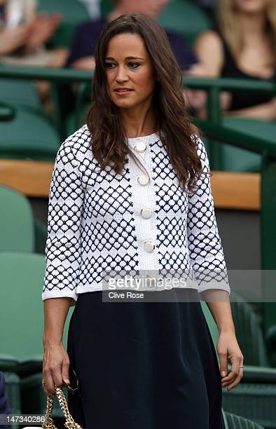 Pippa Middleton arrives to Centre Court to watch the Ladies' Singles second round match between Serena Williams of the USA and Melinda Czink of...