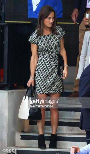 Pippa Middleton arrives to watch Prince Harry and Zara Phillips compete in a Wheelchair Rugby exhibition match in the Copper Box Arena during the...