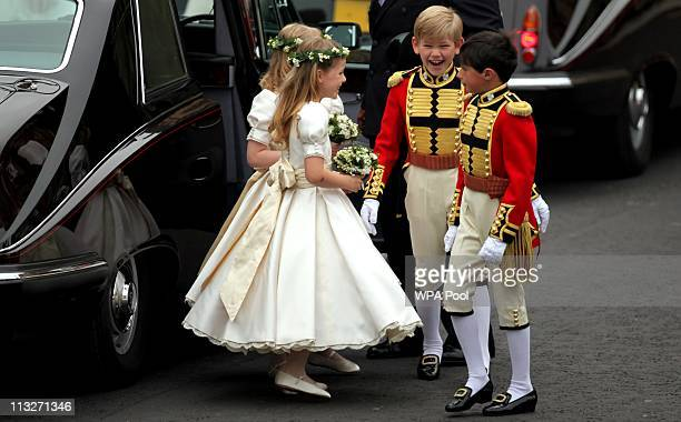 Pippa Middleton arrives with the brides maids and page boys at Westminster Abbey for the Royal Wedding of Prince William to Catherine Middleton at...