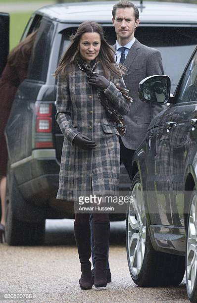 Pippa Middleton attends a Christmas Day service at St Marks Church on December 25 2016 in Englefield England