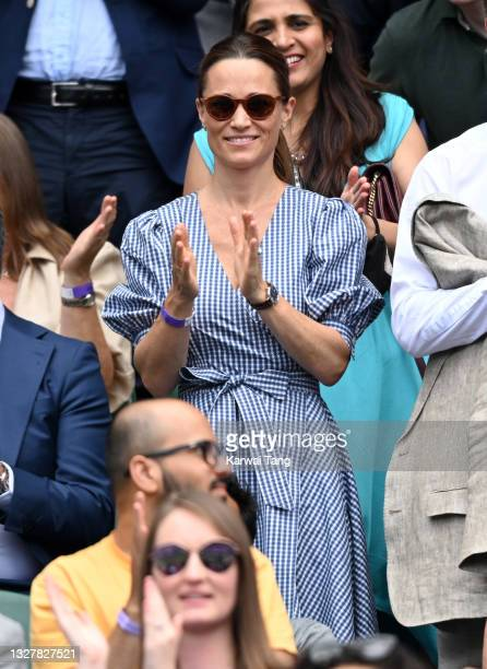 Pippa Middleton attends day 11 of the Wimbledon Tennis Championships at the All England Lawn Tennis and Croquet Club on July 09, 2021 in London,...