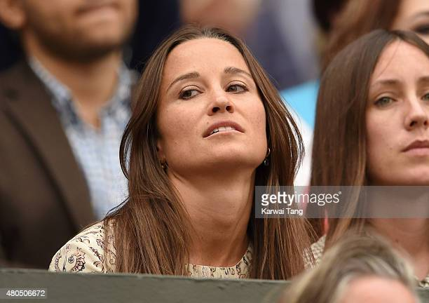 Pippa Middleton attends day 13 of the Wimbledon Tennis Championships at Wimbledon on July 12 2015 in London England