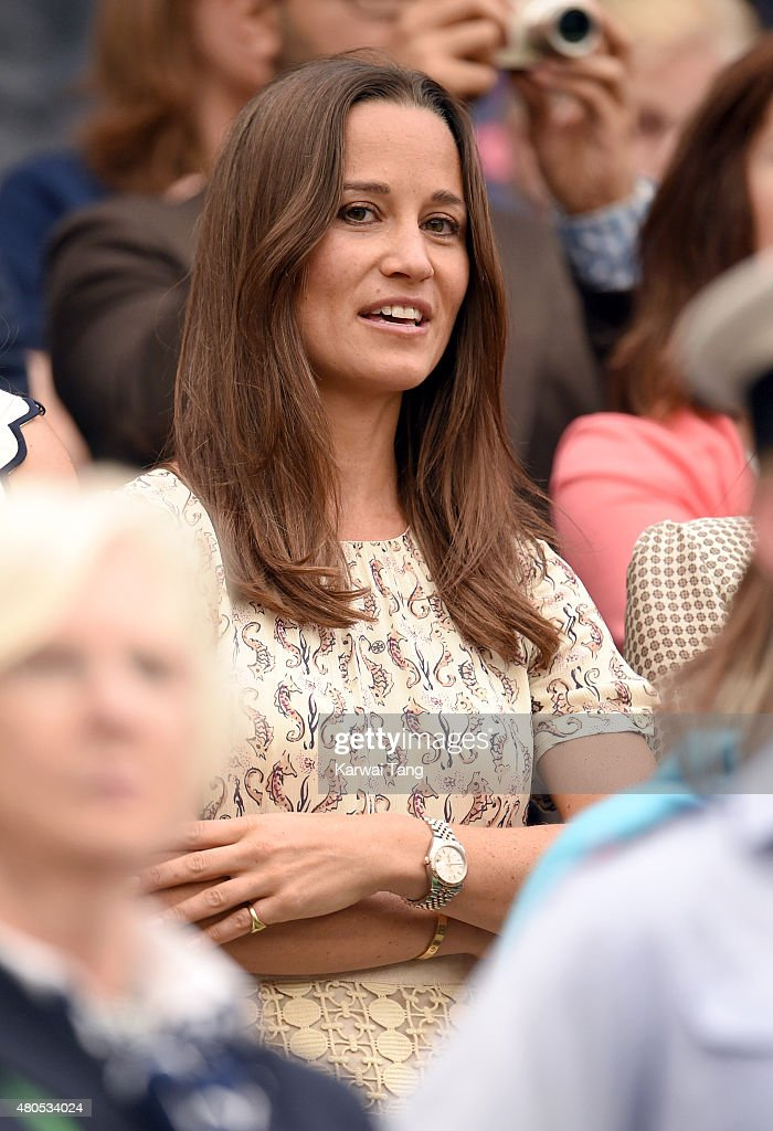Pippa Middleton attends day 13 of the Wimbledon Tennis Championships at Wimbledon on July 12, 2015 in London, England.