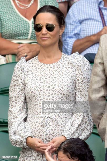 Pippa Middleton attends day eleven of the Wimbledon Tennis Championships at the All England Lawn Tennis and Croquet Club on July 13 2018 in London...