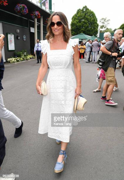 Pippa Middleton attends day four of the Wimbledon Tennis Championships at the All England Lawn Tennis and Croquet Club on July 5 2018 in London...
