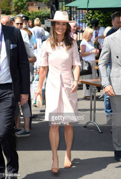 Pippa Middleton attends day seven of the Wimbledon Tennis Championships at All England Lawn Tennis and Croquet Club on July 08, 2019 in London,...