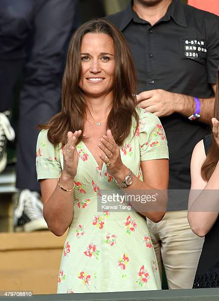 Pippa Middleton attends day seven of the Wimbledon Tennis Championships at Wimbledon on July 6 2015 in London England