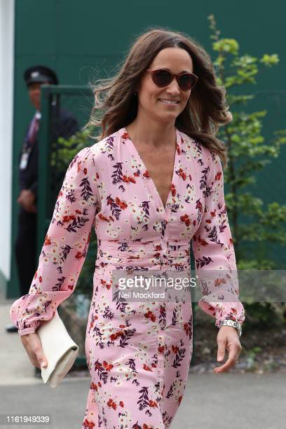 Pippa Middleton attends Men's Final Day at the Wimbledon 2019 Tennis Championships at All England Lawn Tennis and Croquet Club on July 14, 2019 in...