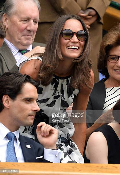 Pippa Middleton attends the Angelique Kerber v Heather Watson match on centre court during day four of the Wimbledon Championships at Wimbledon on...