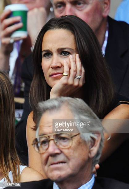 Pippa Middleton attends the semifinal round match between Andy Murray of Great Britain and Rafael Nadal of Spain on Day Eleven of the Wimbledon Lawn...