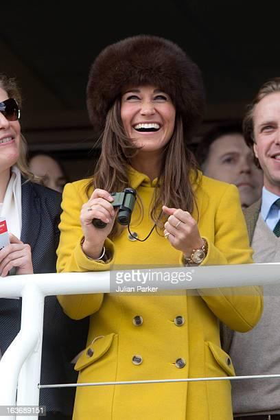 Pippa Middleton attends the third day of the Cheltenham Festival at Cheltenham Racecourse on March 14 2013 in Cheltenham England