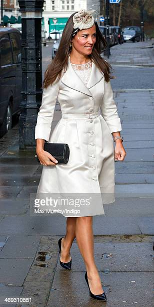 Pippa Middleton attends the wedding of Arabella Musgrave and George GalliersPratt at St Paul's Church Knightsbridge on February 8 2014 in London...