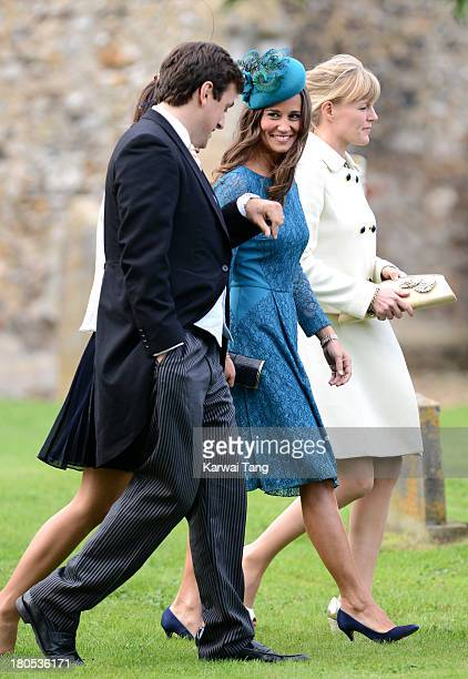 Pippa Middleton attends the wedding of James Meade and Lady Laura Marsham at The Parish of St Nicholas Gayton on September 14 2013 in King's Lynn...