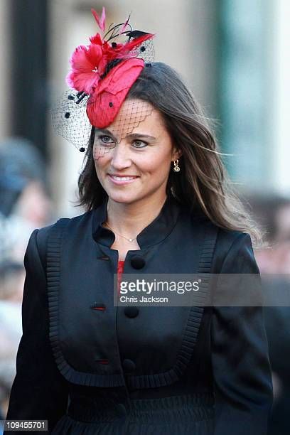 Pippa Middleton attends the wedding of Katie Percy to Patrick Valentine at St Michael's Church in Alnwick Northumberland on February 26 2011 in...