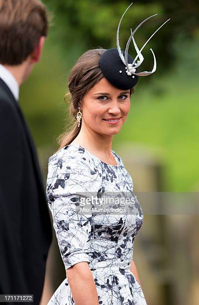 Pippa Middleton attends the wedding of Lady Melissa Percy and Thomas Van Straubenzee at St Michael's Church on June 22 2013 in Alnwick England