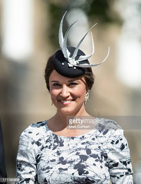 Pippa Middleton attends the wedding of Melissa Percy and Thomas van Straubenzee at Alnwick Castle on June 22 2013 in Alnwick England